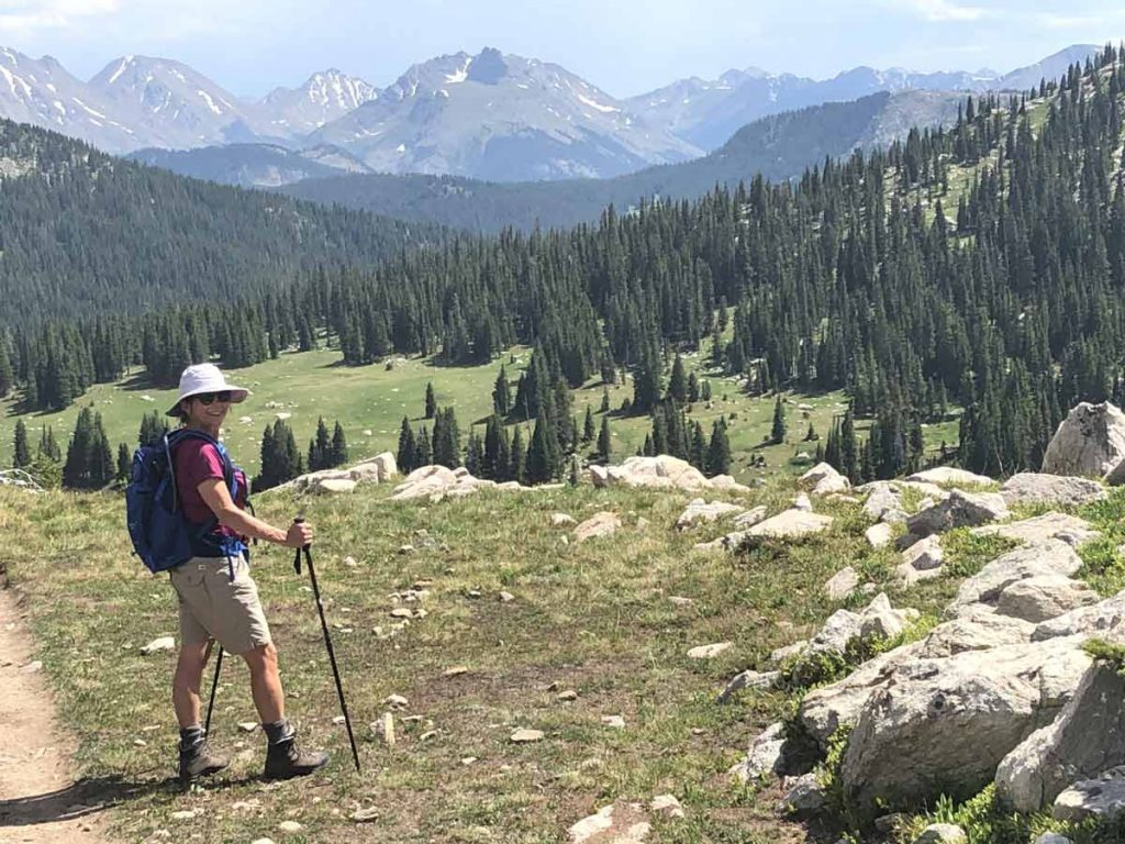 A photo of Therese Glowacki hiking the Holy Cross Wilderness