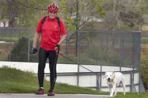Steven Rutledge walks his dog, Saffy, on a sidewalk. He said he's been free of abnormal heart rhythm since his ablation procedure.