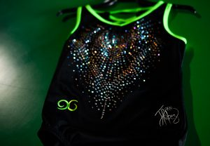 A gymnastics leotard designed by Olympic gymnast, Jessica López