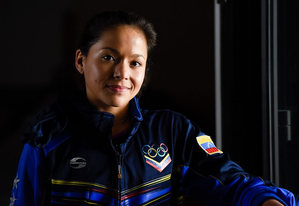 Jessica López wearing her jacket from the Rio Olympics