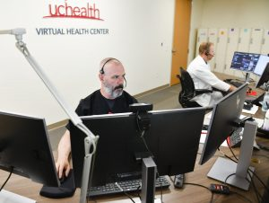 A UCHealth employee works in the Virtual Health Center. The tools will be used to enhance behavioral health care for patients in Colorado.