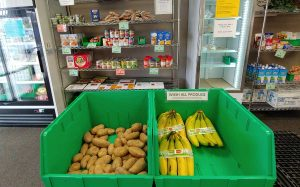 bananas and potatoes sit in bens with can goods behind them at a food pantry in Fort Collins.