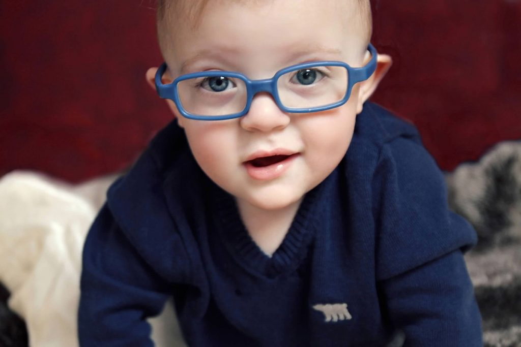 A photo of Oliver, born with retinopathy of prematurity