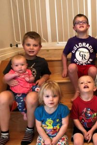 The Durkee kids posed recently for a photo. Clockwise from bottom: Victoria, Willa, Nathaniel, Oliver and Preston. Photo courtesy of Libby Durkee.
