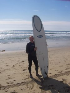 Hnida's many physical activities included surfing. Today he's taking one step at a time in his recovery from a heart transplant. Photo courtesy of Dave Hnida.