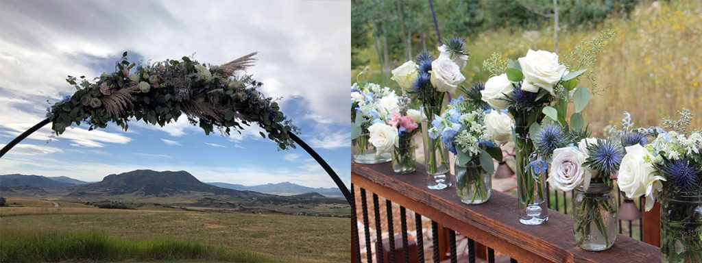 Flowers are shown on a wire arch and then in glass vases in this photo.