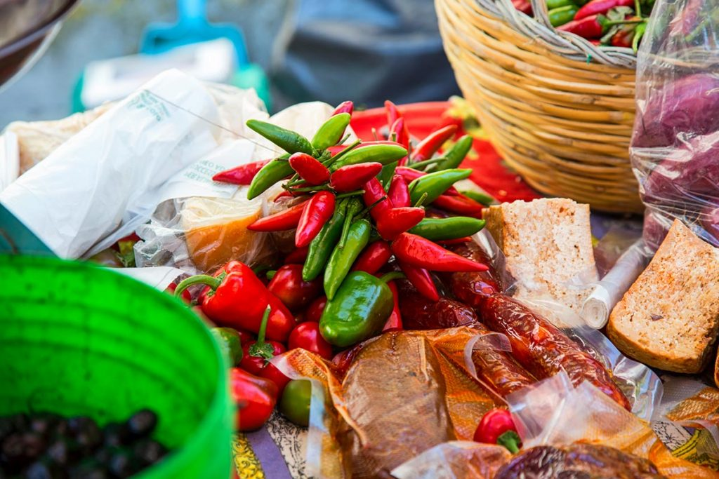 a variety of fresh chiles
