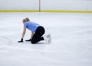 skater on the ice after a fall.