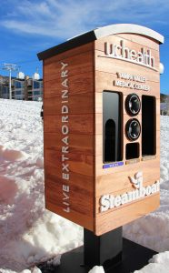 This is a photo of a comfort station at Steamboat Resort. It provides water, tissues and sunscreen.
