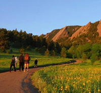 Hiking in Chautauqua Park in Boulder.