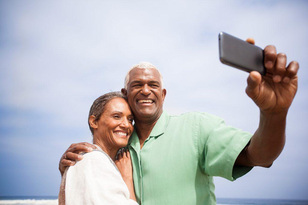 Two seniors take a selfie