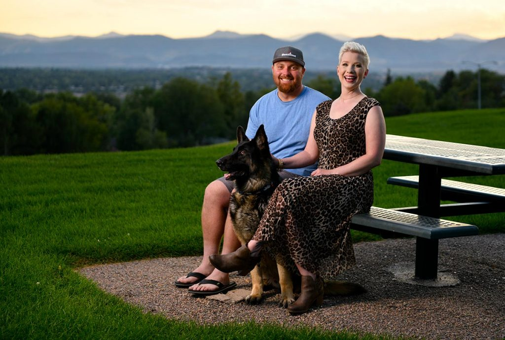 Lauren Race with her boyfriend, Luke, and their dog, Kane.