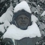 This photo shows the bust of Buddy Werner, located at the top of Mt. Werner at Steamboat Resort.