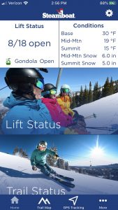 This is a screenshot of the Steamboat Resort app.
