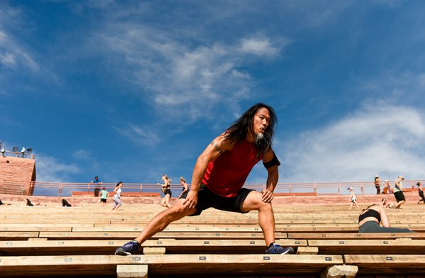 A man works out at Red Rocks, Colorado's famous outdoor concert venue.