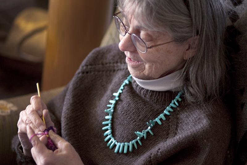 woman knits
