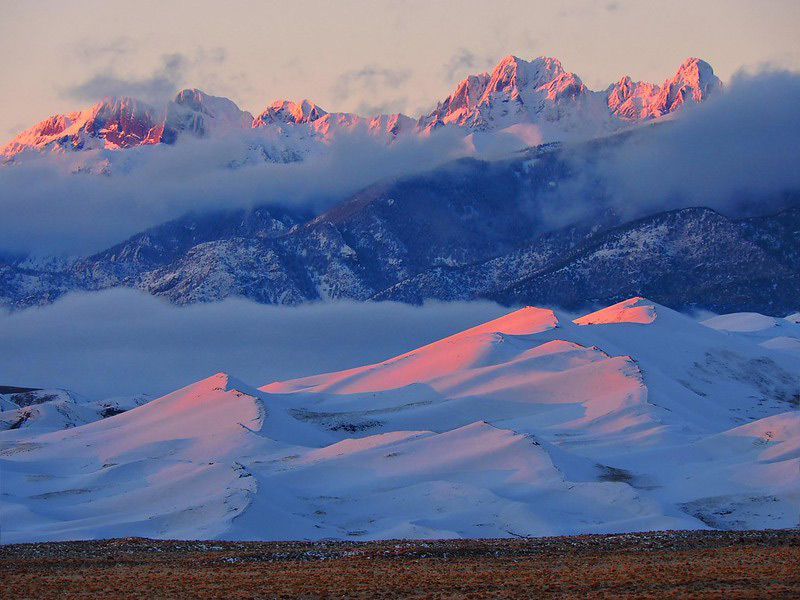 Great Sand Dunes is beautiful in all seasons, including winter when snow falls on the dunes about once a week.