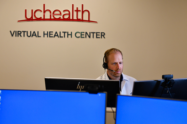 Doctor at UCHealth's Virtual Urgent Care, a great options for people in Colorado with coronavirus symptoms who want to see a doctor from their home.