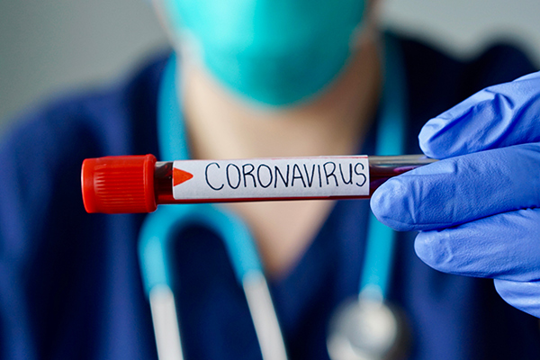 a photo of blood with coronvirus on the label
