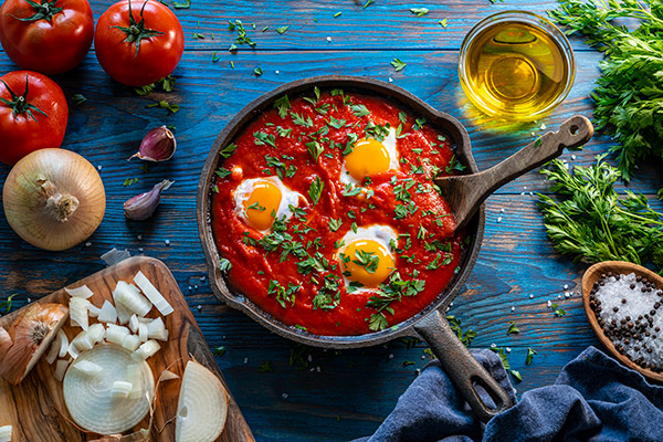 pantry cooking - try eggs in tomato sauce