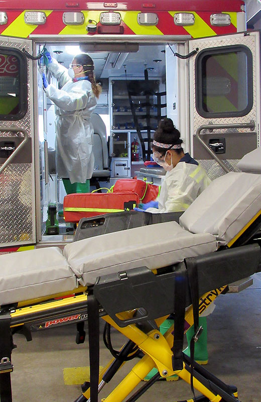 UCHealth specially trained team does a deep clean of an ambulance making it safe for EMS to response to medical emergencies during the pandemic.