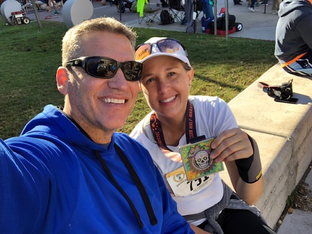 Just a little over four months after her stroke, Amy celebrated completing a 5k walk in Tucson with Jay. Photo courtesy of Amy Kirch.