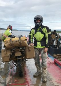 Richter and his ride on a ferry in northern Canada in summer 2019. (Photo courtesy of Gary Richter