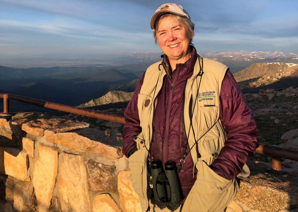 The Dextenza eye insert helped Martha Eubanks after cataract surgery. Here she poses on a birding outing at sunrise on Mount Evans. Photos courtesy of Martha Eubanks.