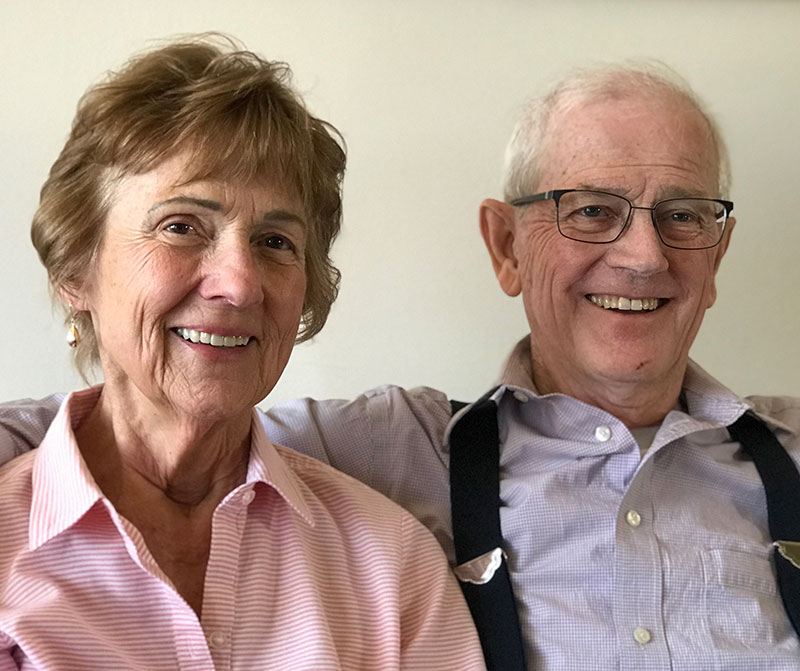 wife and husband, who is in a trial testing the effectiveness of a blood pressure drug to fight pancreatic cancer
