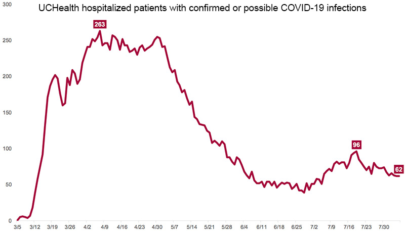 graph showing March 5 to July 30 cases of hospitalized patients with confirmed or possible COVID-19 infections.