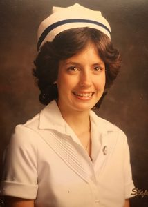 women in nursing uniform of the 1980s