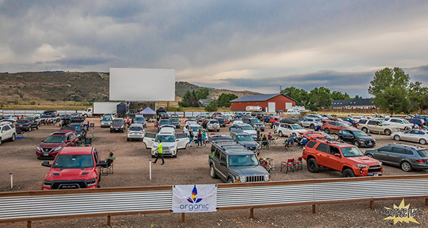 Drive-in theater in Fort Collins set up for live music concert.
