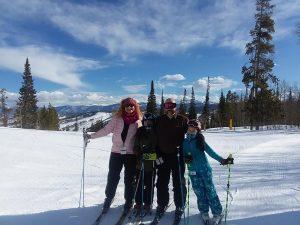 Elizabeth Wethington (far left) skis with (from left) son James, husband Mark and daughter Margarita. Photo courtesy of Elizabeth Wethington.