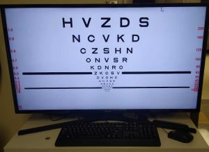 A special reading test used at the Low Vision Rehabilitation Service. Photo by UCHealth.