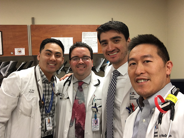 allergy specialist in central Denver. Dr. Rebin Kader, second from right, with his friends during his residency.
