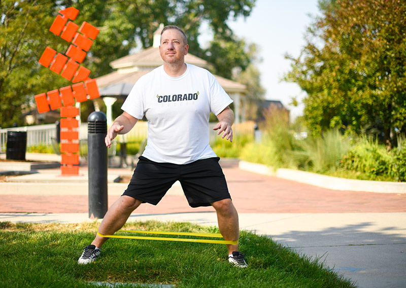 man working his legs in a park after cartilage transplant.