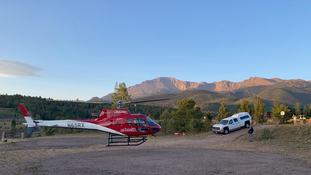 A UCHealth LifeLine helicopter takes off from Pikes Peak during The Broadmoor Pikes Peak International Hill Climb.