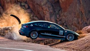 A Tesla spins off course during the 2020 The Broadmoor Pikes Peak International Hill Climb