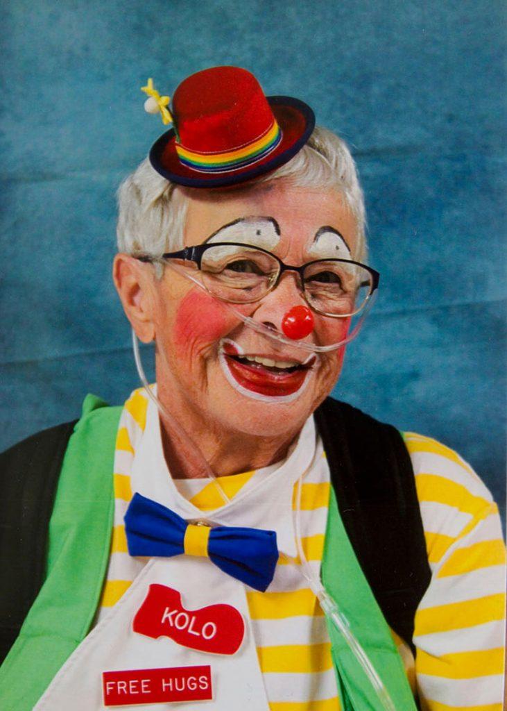 Fran, who has battled cancer, heart disease and pulmonary arterial hypertension, as a clown.