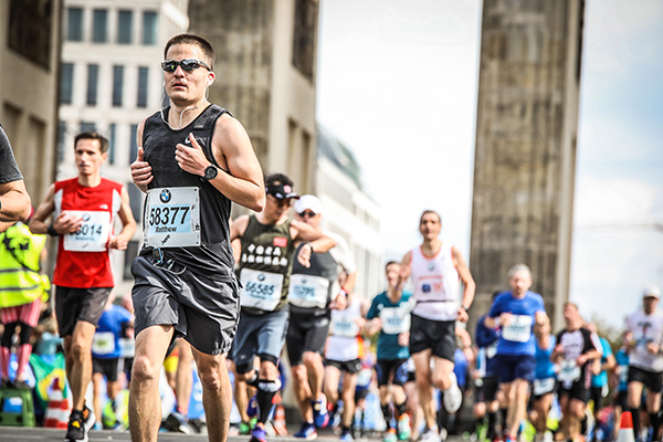running with a heart defect. Matt Johnston at one of his favorite races, the Berline Marathon