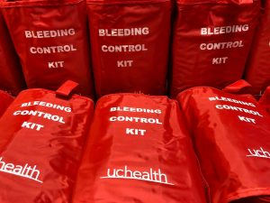 Stop the Bleed kits include a pair of trauma shears to cut off clothing that may be in the way; nitrile gloves; sterile gauze; and perhaps most importantly, a tourniquet and a marker for noting what time the tourniquet was put on. Photo: UCHealth.