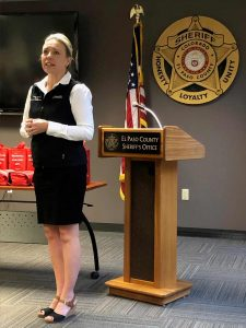 Rochelle Flayter, senior director of trauma services at Memorial Hospital, explains how Stop the Bleed kits can help save lives. Photo: UCHealth.