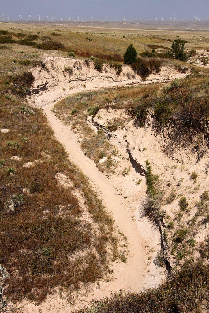 hiking trail through an arroyo at the Pawnee National Grassland.