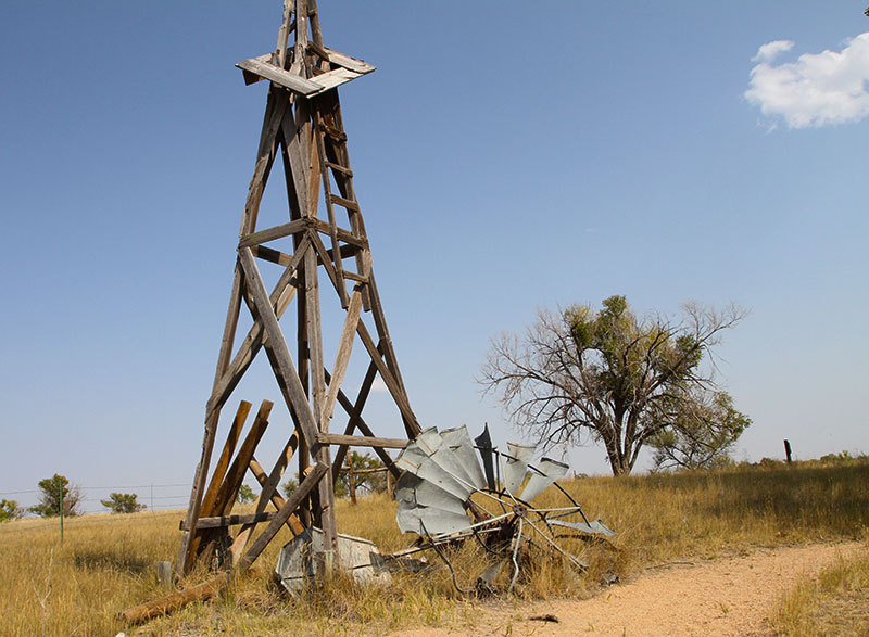 broken and old windmill on the Pawnee National Grassland.