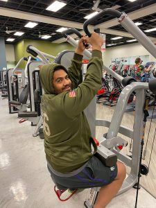 edgar working out at the gym while recovering from his stroke
