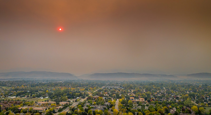 smoke over fort collins caused by nearby forest fires can cause anxiety and emergency preparedness for kids needs to consider their emotional health as well as physical wellbeing.