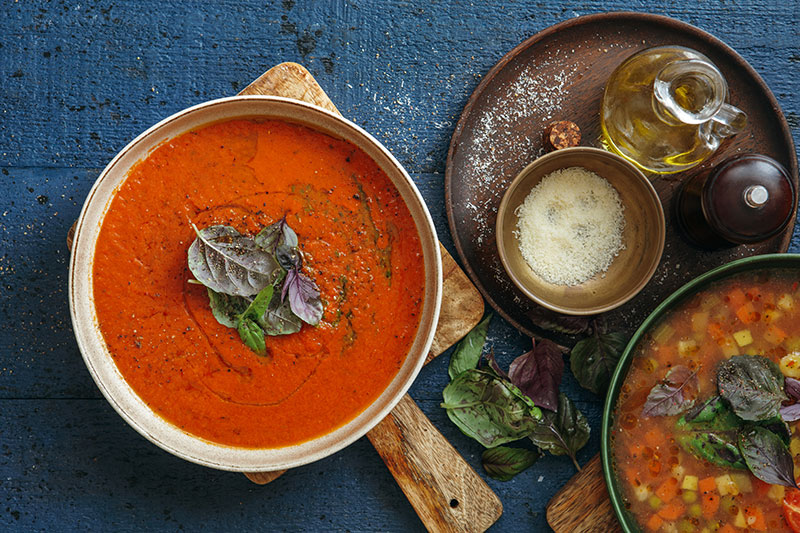 fall comfort foods that includes tomato and vegetable soups.