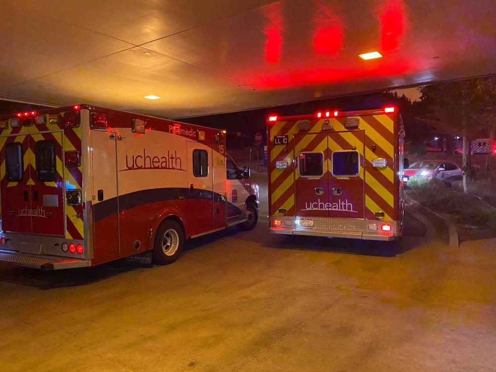 Ambulances transport wildfire evacuees from Estes Park hospital