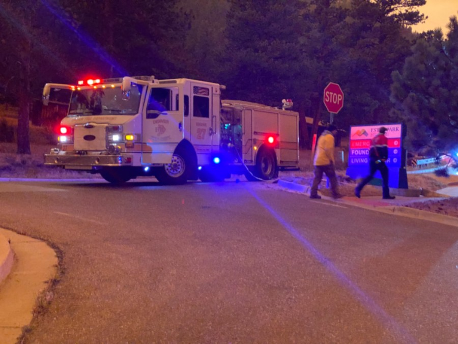 firefighters dampen air to prevent ash from entering hospital emergency department