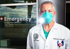 Dr. Richard Zane in front of the emergency room. He is stressing the importance of following rules now with the Colorado COVID-19 spike here.